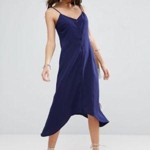 ASOS midi button sun dress w/ dipped hem, US 2